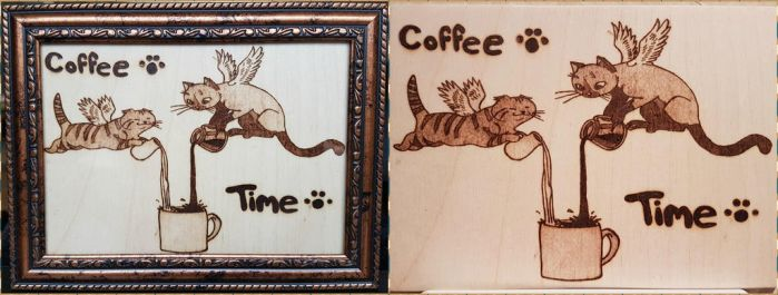 Woodburning - Coffee Time Cats by Stepher17