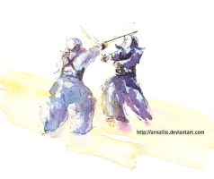 Kendo watercolor by vientocaprichoso