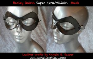 Harley Quinn Leather Mask by Angelic-Artisan