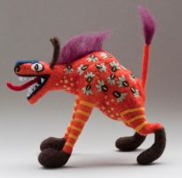 Needlefelted hyenaish alebrije by creturfetur