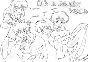 Inuyasha And Ranma Drawing: It's a Rumic World by MsYelenaJonas