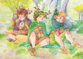 Hobbits in Lothlorien by merrinou
