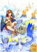 A game of chess with a cat by KazeAi7