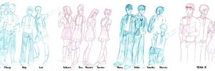 Konoha High School Sketches by aemyth