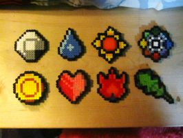 Pokemon Badges in perler beads by AlyciaZU