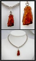 Sterling Amber Necklace by chainedoombaby