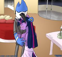 Commission - Mordecai and Twilight Sparkle by Reashi