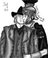 Jed and Octavius shy kiss by LoverRevolveri