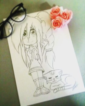 Girl and Cat  by ShellyToon
