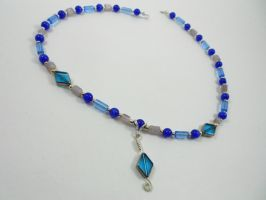 Glass and stone blue necklace by Dragon-Factor