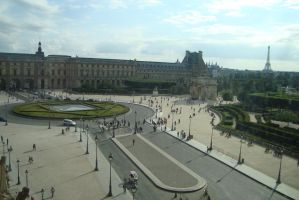Le Louvre - View on Eiffel Tower by ThisbeOfBabylon