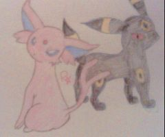 Espeon and Umbreon by RedStarWolf