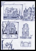 Ghostville house sketches II by Thevakien
