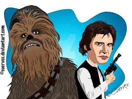 Chewie and Han Solo by Cuervex