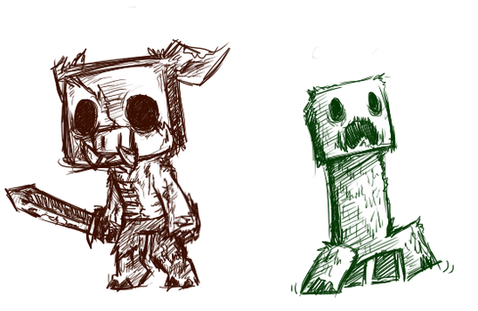 Minecraft Mob Sketches 1 by sir-grimmington