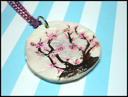 Cherry Blossom Paper Lantern Necklace by GrandmaThunderpants