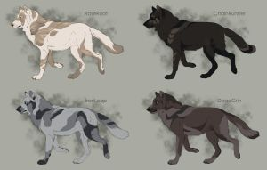 Semi-Realistic Wolf Adoptables Set 5 - CLOSED by Therbis