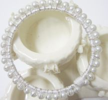 Wire wrapped Pearl and Ribbon Wedding Bangle by Artisticat86