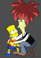 Sideshow Bob and Bart by Lecuna-Spider