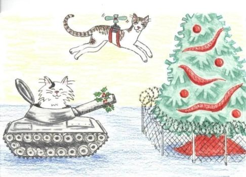 Christmas Card Cats by jaqi0nightshade
