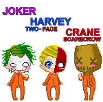 Joker, Harvey, and Crane by devilstoy01