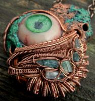 copper wire wrapped polymer clay eye pendant by dogzillalives