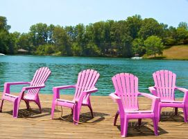 Pink Plastic Chairs on the Lake by DoodleGirl67