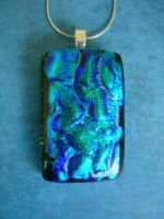 Green Blue Fused Glass Pendant by FusedElegance