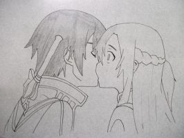 Kirito and Asuna kissing by lyrablaze