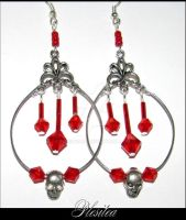 Halloween Skull Red Earrings 1 by PLESITEArt