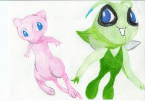 Mew and Celebi by lisaoak