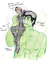 Shoulder Rides, Hulk/Hawkeye by LittleWarboy