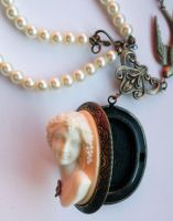 Headstone cameo necklace 2 by Pinkabsinthe