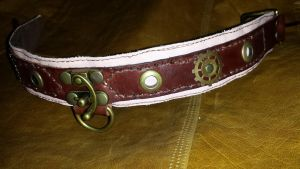 Steampunk leather collar by deviantdone