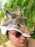 Coyote Mask with Rooster Feathers - FOR SALE by SPWilder