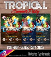 Tropical Summer Party Flyer Templage by AnotherBcreation