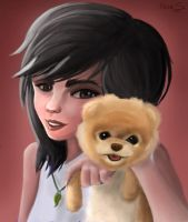 Girl And Her Dog by Freksama