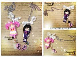 Best Friends Necklace Set - Chibi Moon and Saturn by SentimentalDolliez