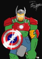 Captain Iron Hulk of Asgard (colored) by Whiterose01