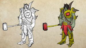 Character Drawing : Light armored Orc by ineedpractice