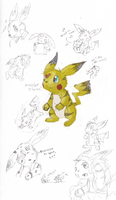 TF-Bumblebee Pikachu Sketches by rosa-pegasus