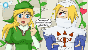 Link and Zelda gender bender by TheMaskofaFox