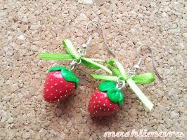 Strawberries with Ribbon Earrings by mashlimaro