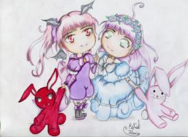 Chibi Melia and Dolly(sisters) by Zelanie