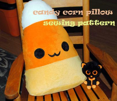 Candy Corn Pillow by HarleyQuinne