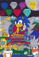 Sonic The Hedgehog - 21st Anniversary 2 by Fox-On-Fire