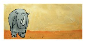 Little Paintings - Rhinoceros by Duffzilla