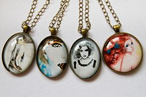 Watercolor pendants by OlgaC