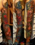 Chinese Japanese sleeve with Hannya and Foo Dog 1 by qiangzitattoo