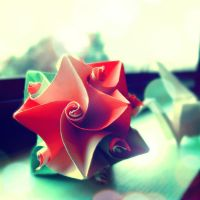 red origami ball by beorange